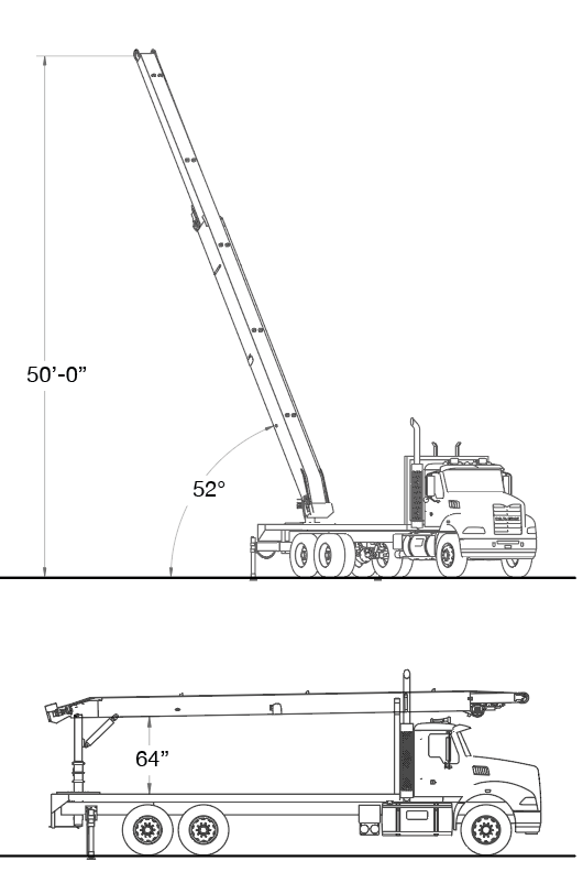 EXT-52 Roof Conveyor Dimensions